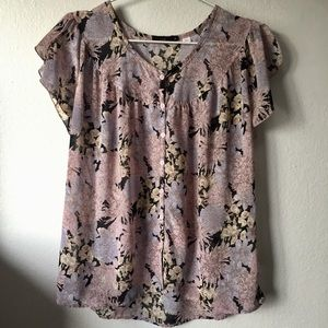 Urban Outfitters Lux Floral Button Up Blouse